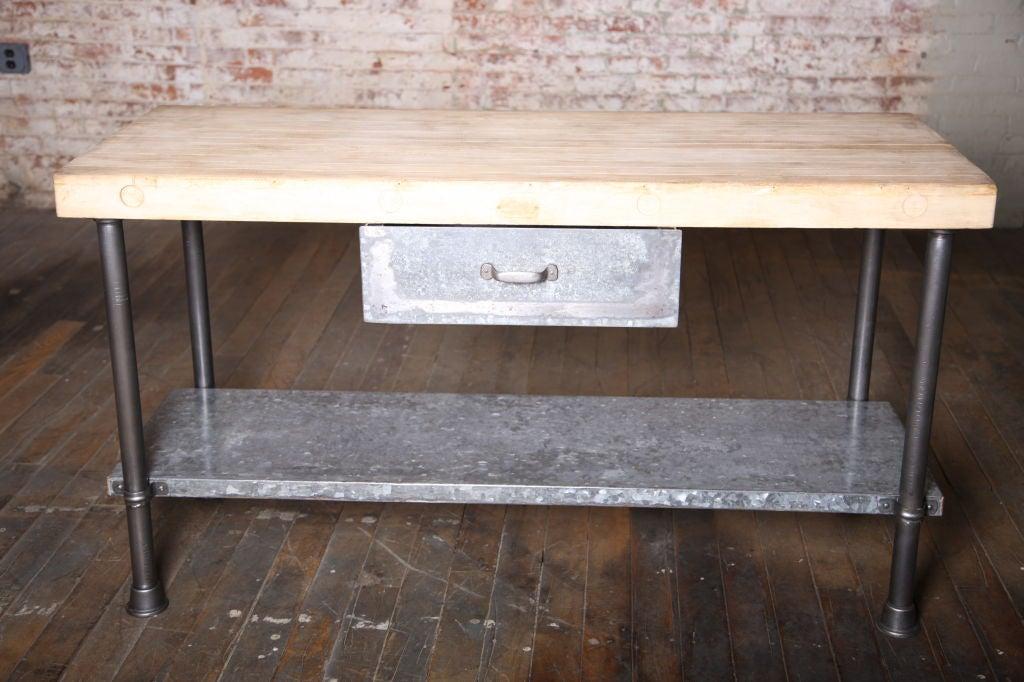 Vintage Industrial Butcher Block Work Table At 1stdibs