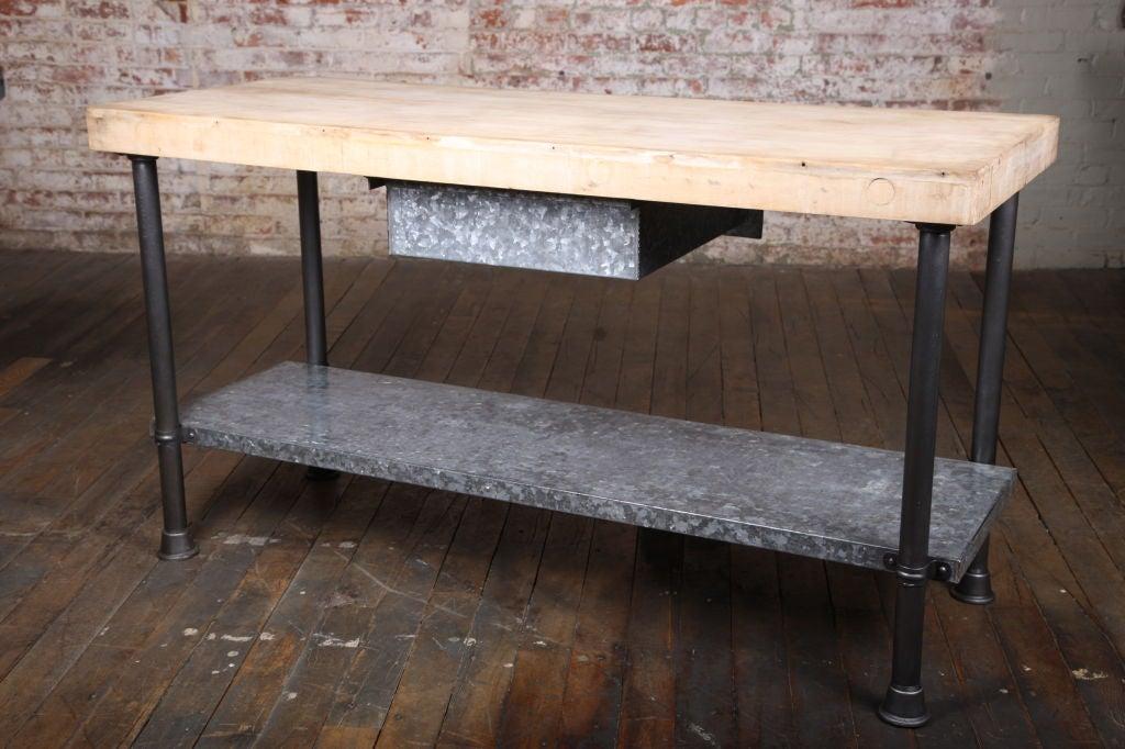 Vintage Industrial Butcher Block Work Table 3