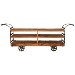 Cart - Vintage Industrial Retail Display Iron & Wood Rolling Display Storage