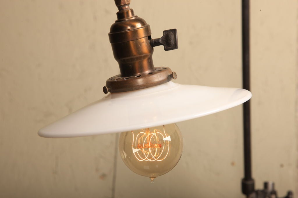 Milk Glass Wall Lamps : Pair of Wall Milk Glass Lamps, Lights, Sconces Vintage Industrial O.C. White For Sale at 1stdibs