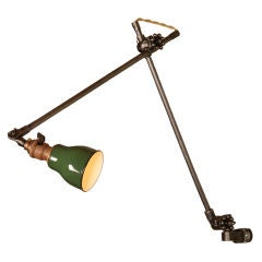 Vintage Industrial O.C. White Wall Metal and Enamel Task Light, Lamp