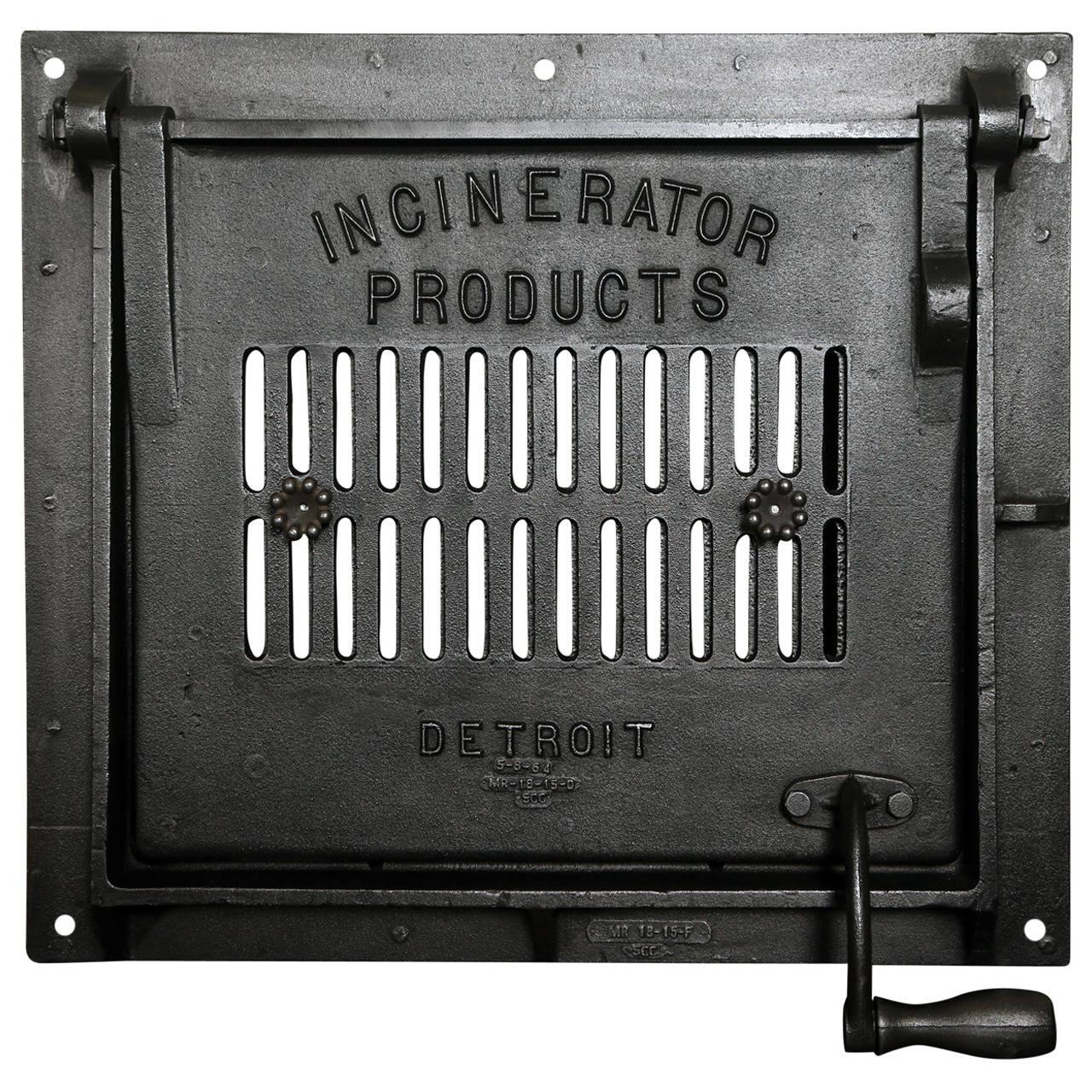 Cast Iron Vintage Industrial Factory Furnace Boiler Door