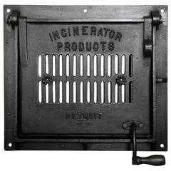 "Cast Iron Vintage Industrial Factory Furnace Door ""Incinerator Products"" Art"