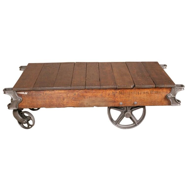 Vintage Industrial Cart Coffee Table: Vintage Industrial Factory Cart/Coffee Table At 1stdibs
