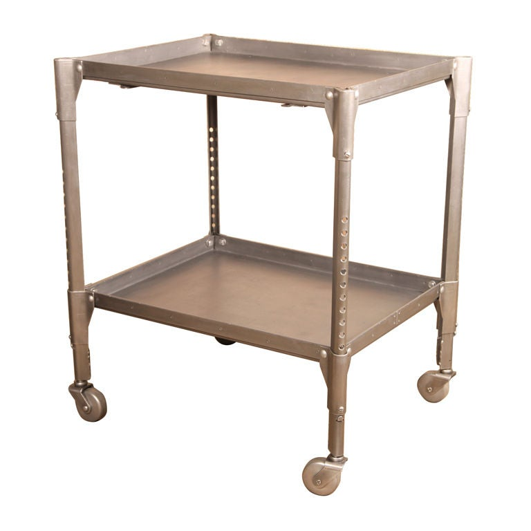 Industrial Coffee Table On Wheels At 1stdibs: VintageTwo Tier Adjustable Industrial Cart At 1stdibs