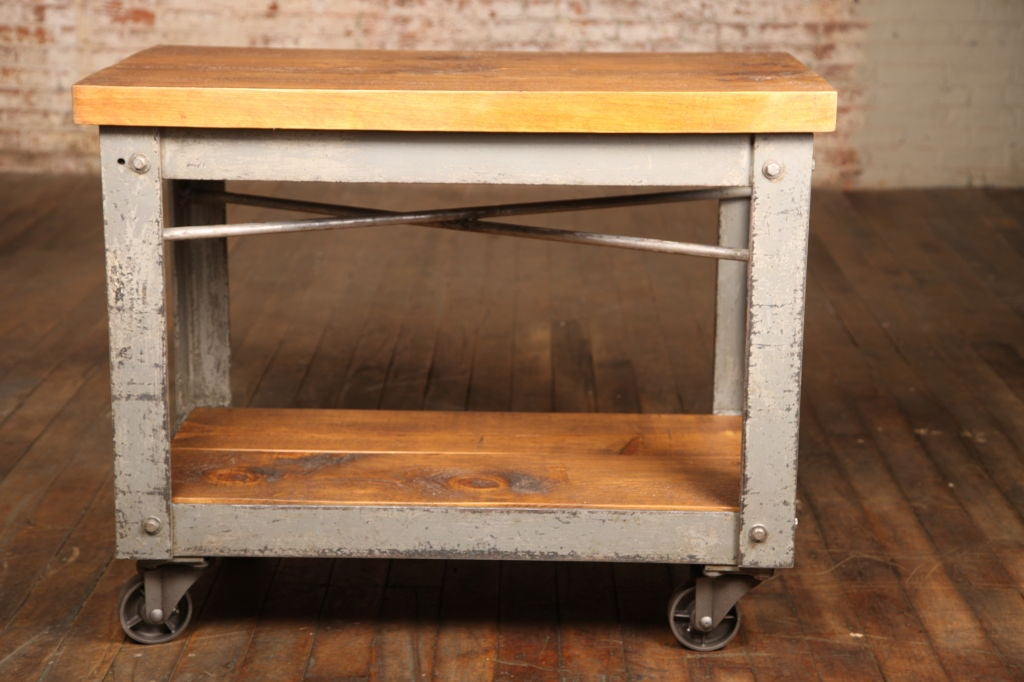 Vintage Bar Cart With Cast Iron Wheels And Wooden Shelves