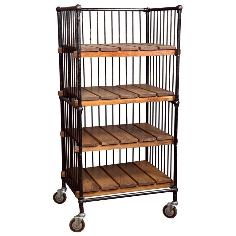 Industrial Rolling Kitchen Cart: Vintage Industrial Wood And Metal Rolling Bindery Cart At