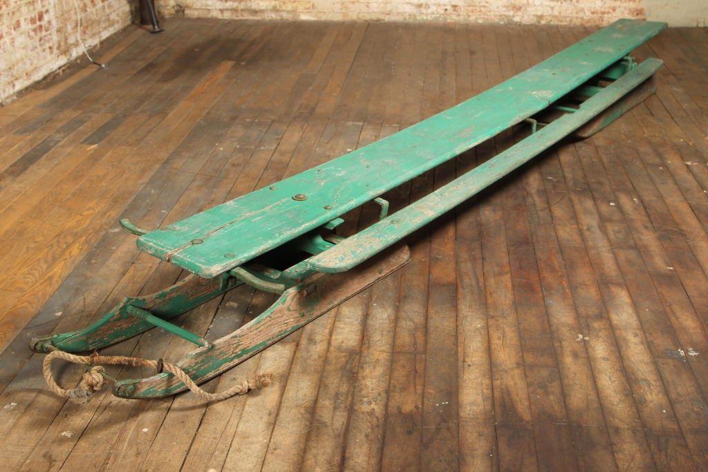 Original, Vintage, American Made, Wooden Snow Sled / Toboggan.  Bring the whole gang with you on this sleigh ride!  The seat is 142