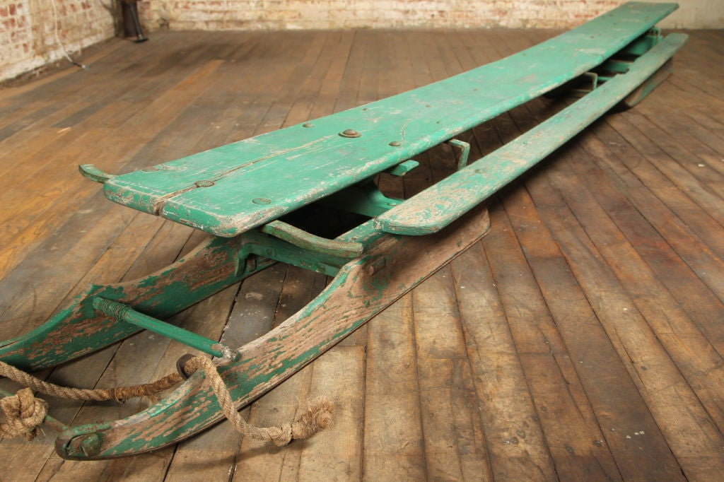 Primitive Vintage American Made Antique Wooden Snow Sled Toboggan For Sale
