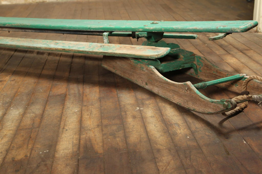 Metal Vintage American Made Antique Wooden Snow Sled Toboggan For Sale
