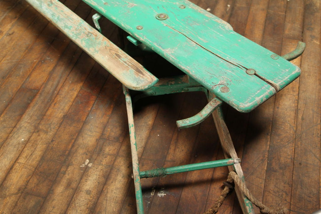 Vintage American Made Antique Wooden Snow Sled Toboggan For Sale 2