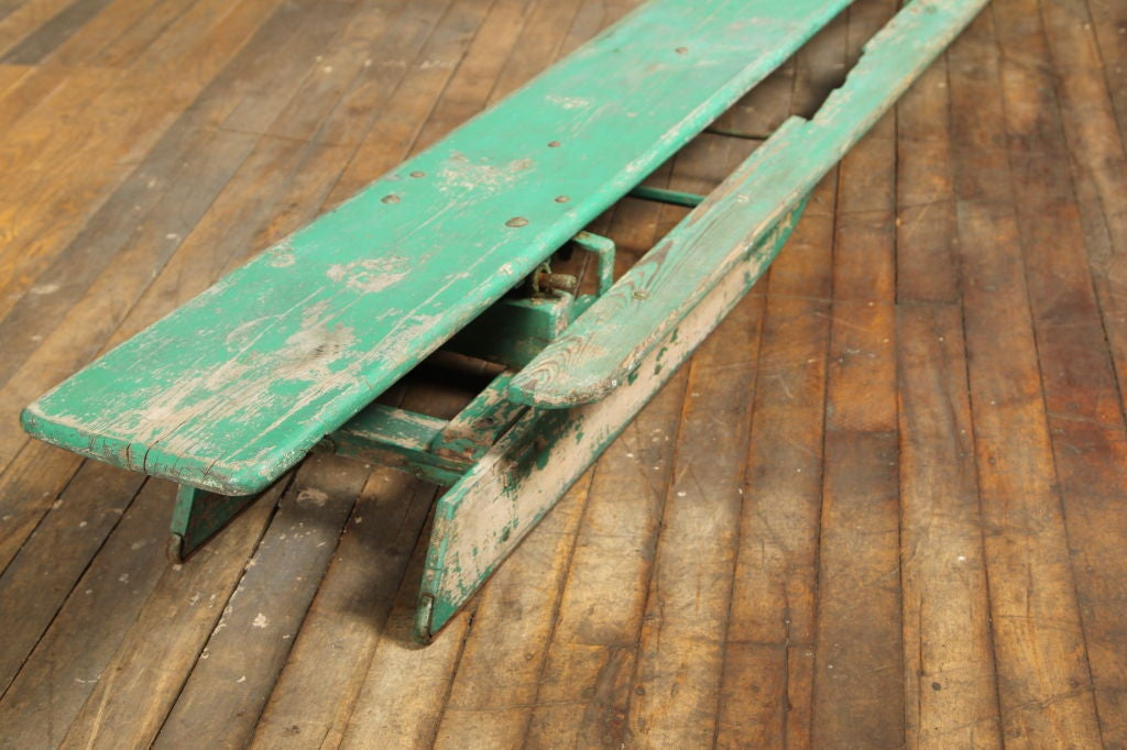 Vintage American Made Antique Wooden Snow Sled Toboggan For Sale 3