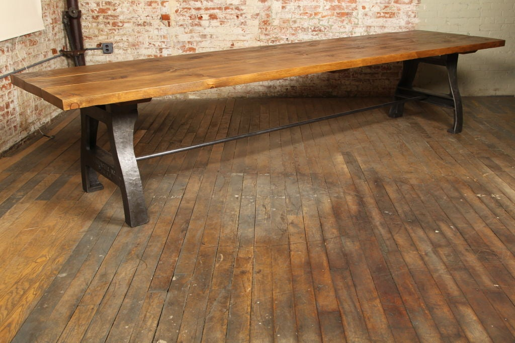 the cast iron industrial legs make this table really stand out with a
