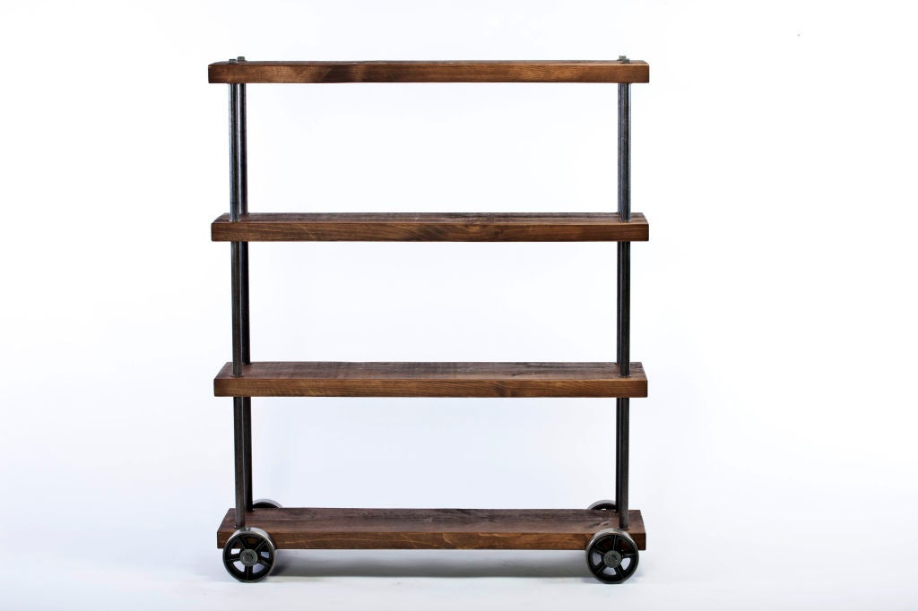 Industrial Rolling Cart Wood And Steel Iron Storage