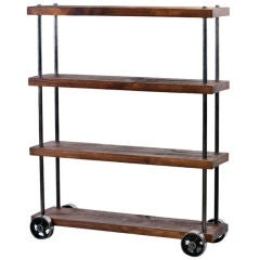 Industrial Wood & Steel, Iron Storage Shelving Rolling Cart on Casters
