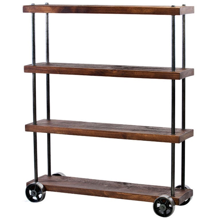 industrial wood and steel iron storage shelving rolling. Black Bedroom Furniture Sets. Home Design Ideas