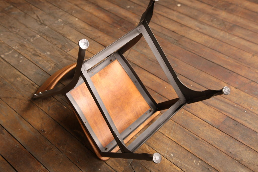 Vintage wood and metal toledo chair bent plywood at 1stdibs