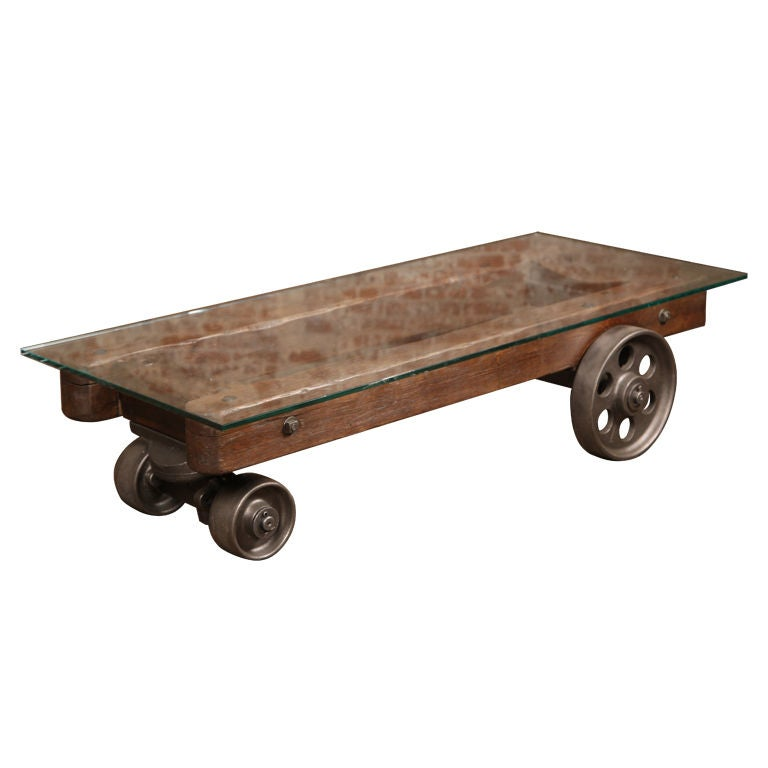 Vintage Industrial Factory CartCoffee Table at 1stdibs