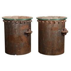 Vintage Industrial Riveted Cylinder Side/End Tables