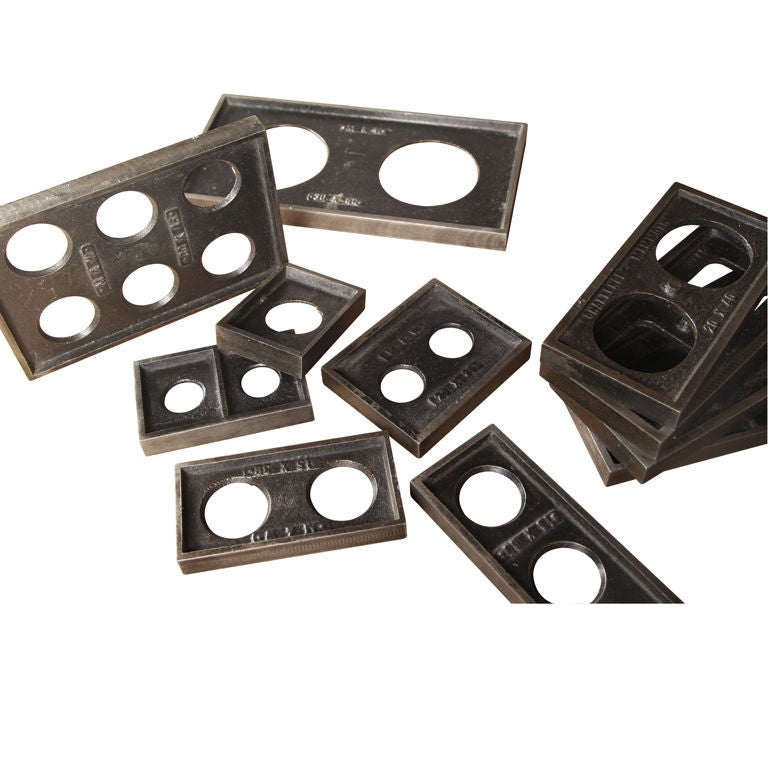 Vintage Industrial Cast Iron Printing Blocks