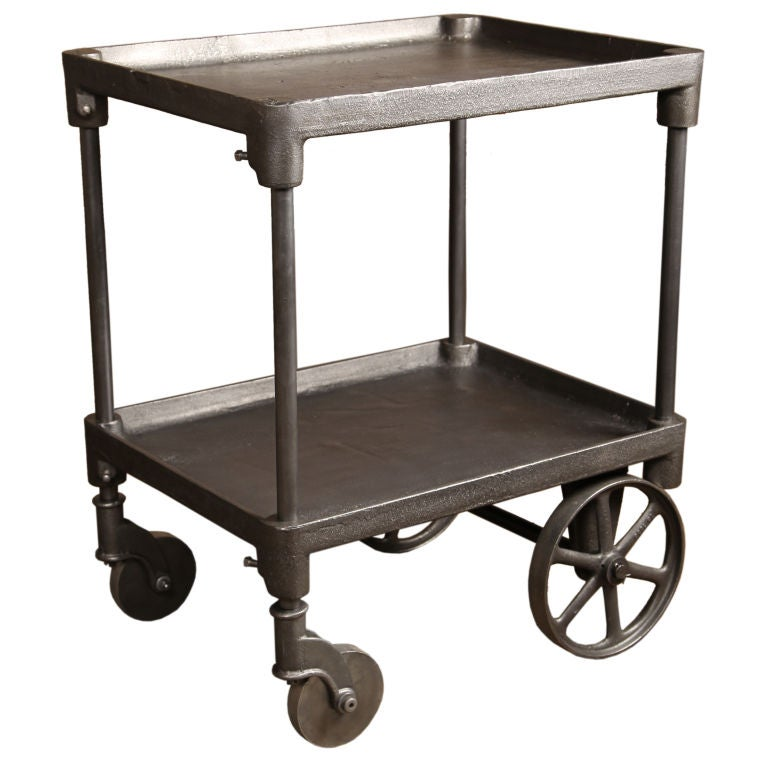 Vintage Industrial Two Tier Cast iron Rolling Bar Cart/Table