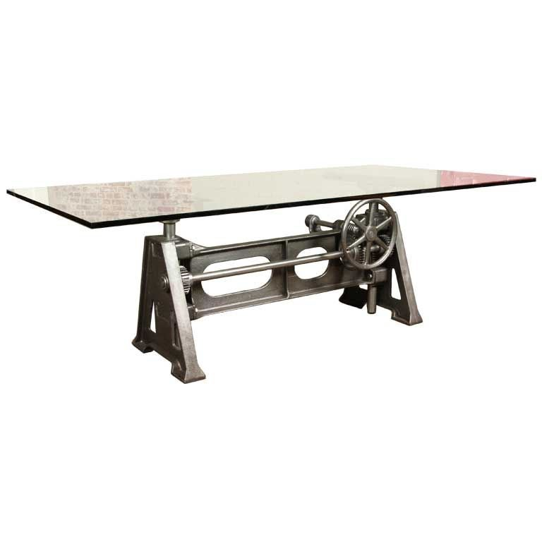 This vintage industrial adjustable table desk base is no longer