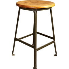 Factory Shop Stool Vintage Industrial Wood and Metal, Steel Backless
