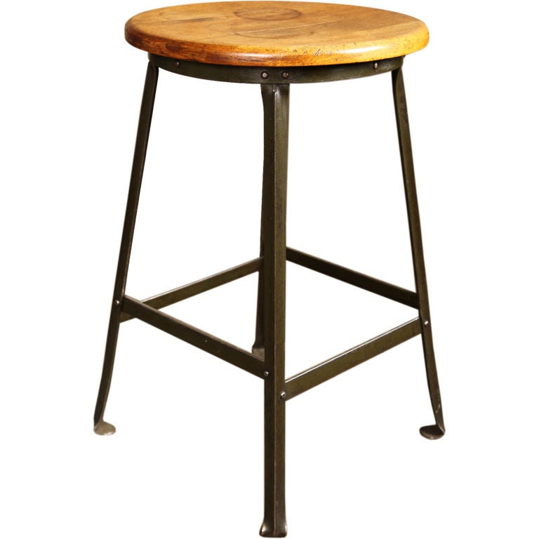 Vintage Industrial Factory Shop Stool  For Sale