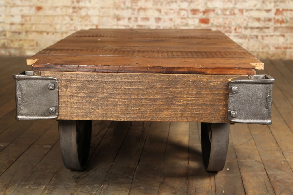 Vintage Industrial Nutting Cart Coffee Table Image 5