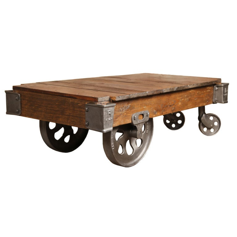 Vintage Industrial Nutting CartCoffee Table at 1stdibs -> Table Basse Vintage Industriel