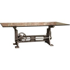 Table, Desk Base Vintage Industrial Adjustable Machine Age Crank Up Factory
