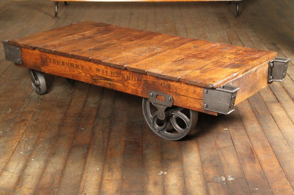 Vintage Industrial Wood Cast Iron Steel Rolling Factory