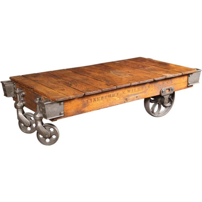 Vintage Industrial Wood Cast Iron Steel Rolling Factory Cart Coffee Table Castor At 1stdibs