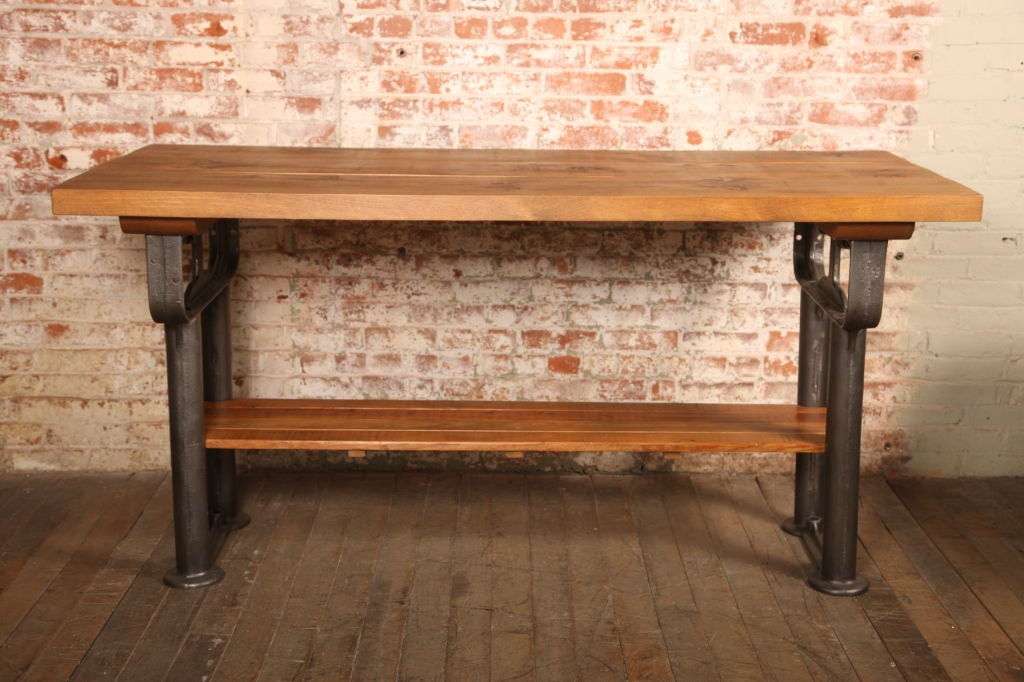 Plank Top Work Table Vintage Industrial Wood Top and Cast Iron, Island Counter 2