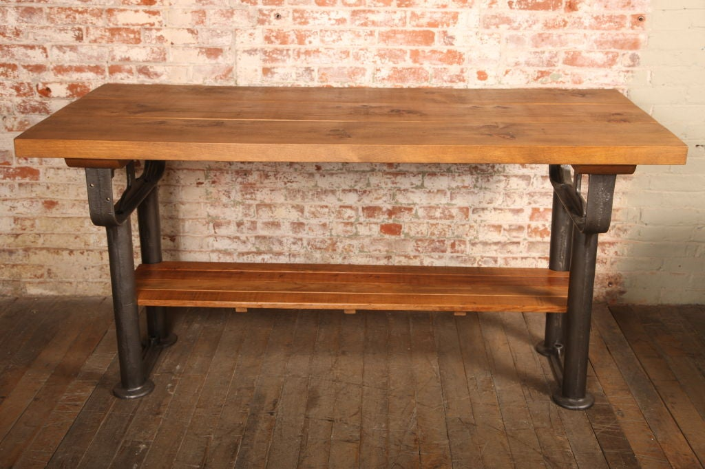Plank Top Work Table Vintage Industrial Wood Top and Cast Iron, Island Counter 3
