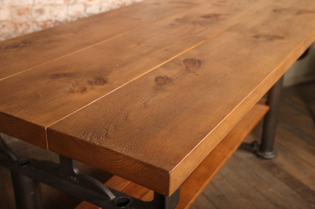 Plank Top Work Table Vintage Industrial Wood Top and Cast Iron, Island Counter 4