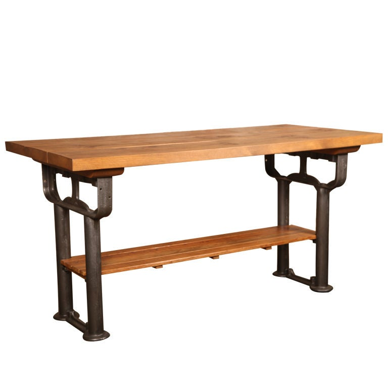 Plank Top Work Table Vintage Industrial Wood Top And Cast Iron, Island  Counter For Sale