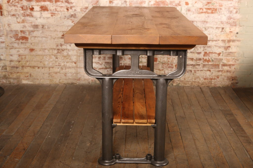 Plank Top Work Table Vintage Industrial Wood Top and Cast Iron, Island Counter 6