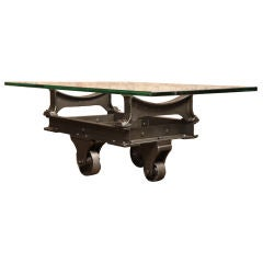 Vintage Industrial Cast Iron & Metal Coffee Table/Cart Base