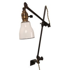 Vintage Industrial O.C. White Adjustable Metal and Enamel Wall Task Light Lamp