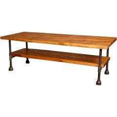 Coffee Table Vintage Industrial Custom Two Tier Wood & Cast Iron, Steel w Shelf