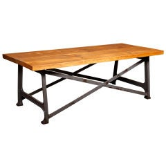 Rustic Vintage Industrial X-Base Coffee Table or Side Table