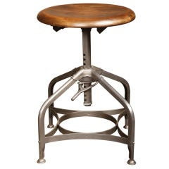 Toledo Backless Stool, Mid-Century Modern Adjustable Vintage-Industrial Chair