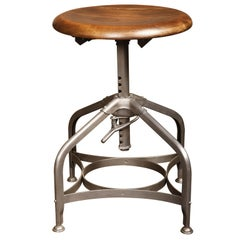 Backless Vintage Toledo Stool with Adjustable Height & Scooped Maple Seat