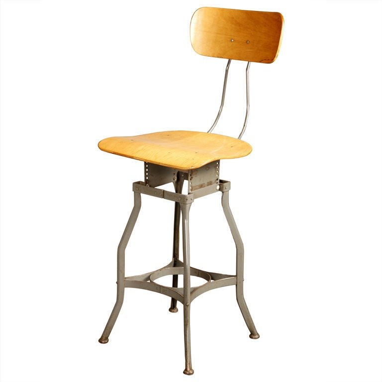 Original Vintage Industrial Toledo Adjustable Bar Stool