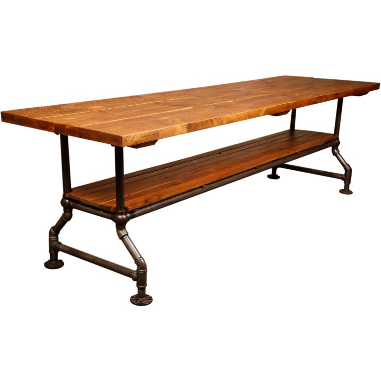 Farmhouse Kitchen Work Table: Original Vintage Industrial, American Made Angle Table