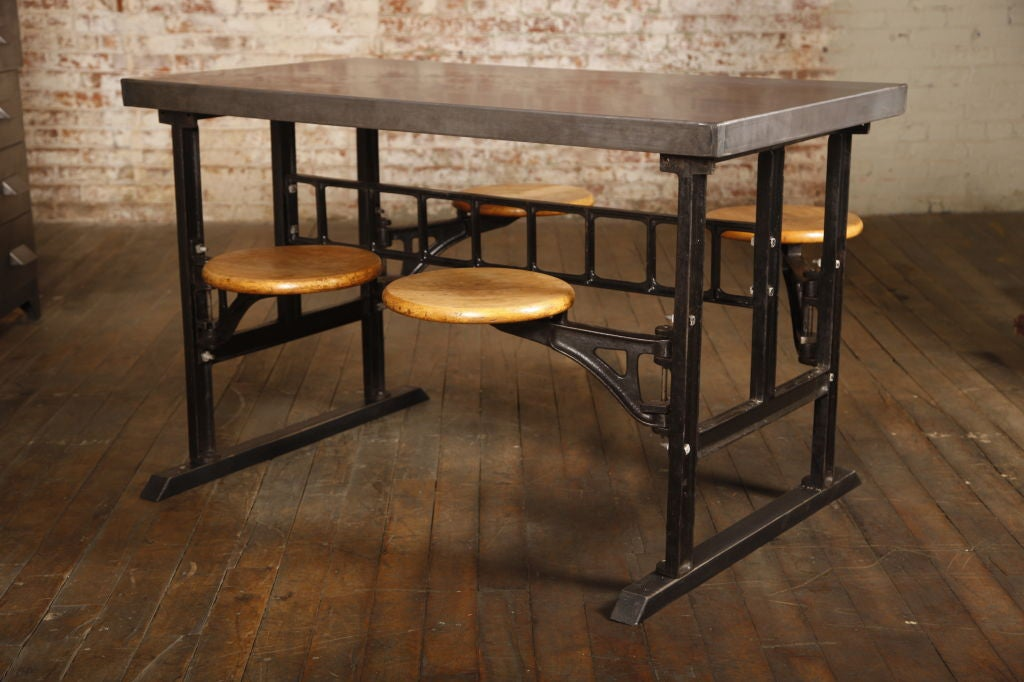 wood dining tables with iron bases reclaimed table base industrial vintage swing out seat cast steel breakfast kitchen rustic and metal room