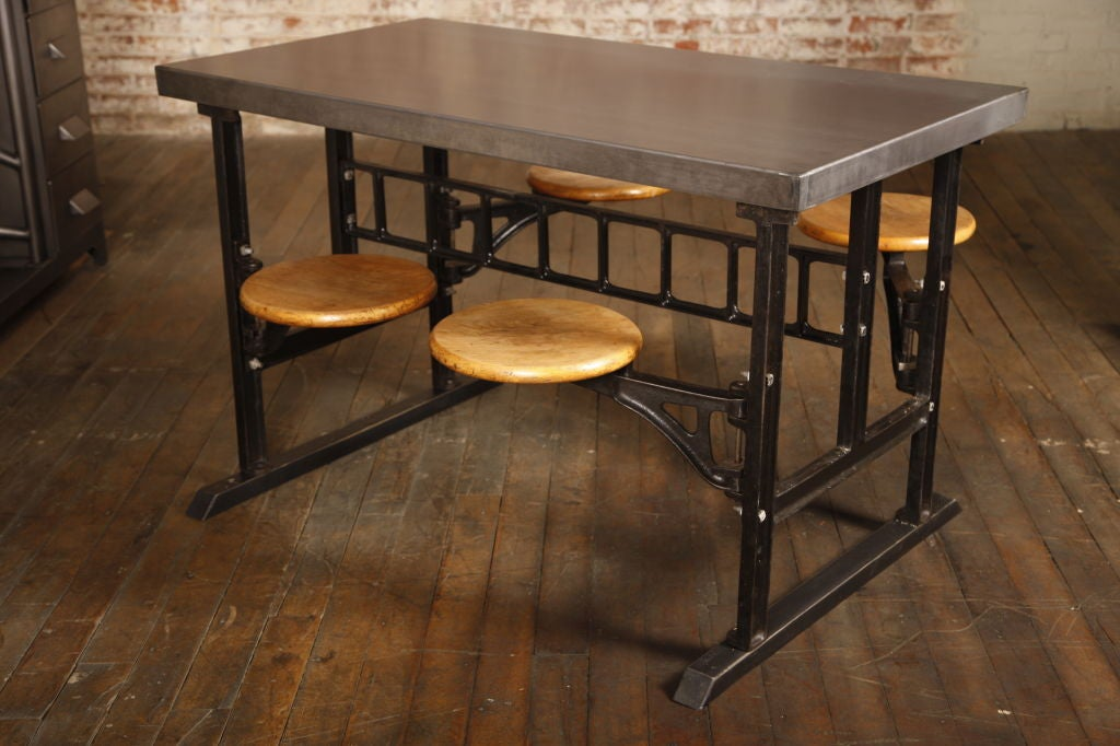 Industrial vintage swing out seat wood cast iron steel breakfast kitchen table at 1stdibs - Seat kitchen table ...