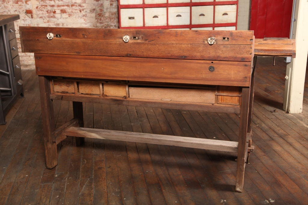 Original Vintage, American Made, Oak Work Bench with Vice.  Ten draws in four different sizes.  Working vice.