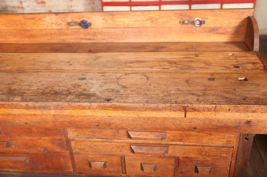 20th Century Original Vintage, American Made, Oak Work Bench with Vice